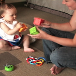 12-month infant with parent participating in home free-play interaction, MESA Longitudinal Project, Cognitive Development Lab, UCSD
